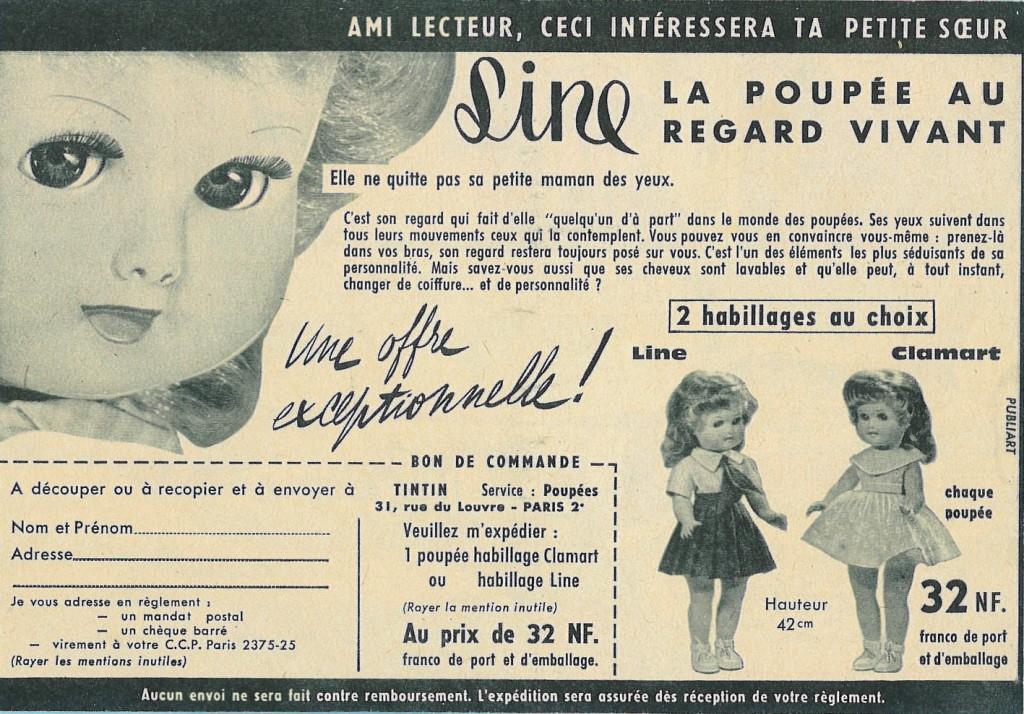 publicité poupée Clodrey Tintin