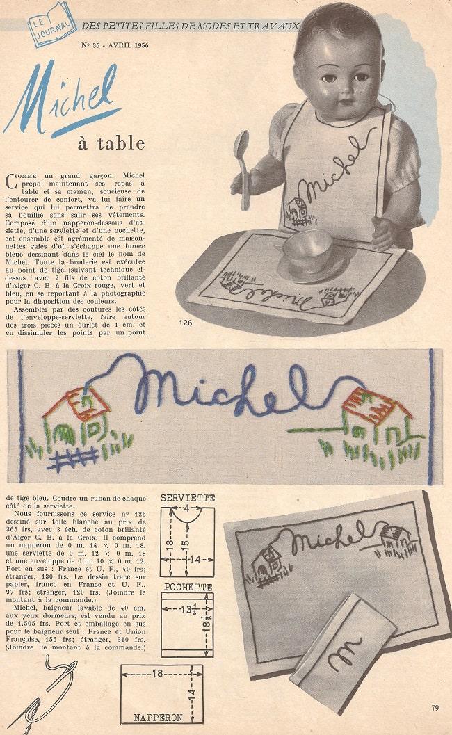 Page poupée Modes & Travaux avril 1956