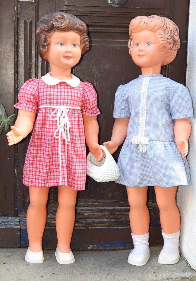 grandes poupées vintage cheveux moulés